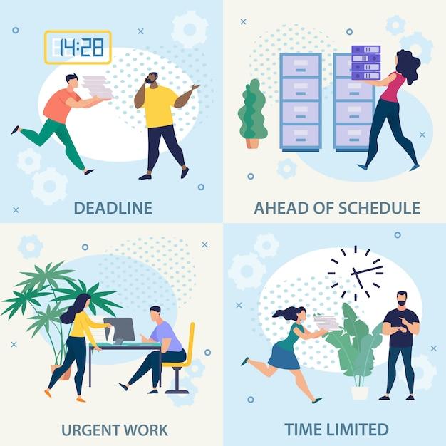 Folheto de publicidade definir trabalho urgente prazo plana. Vetor grátis