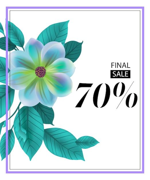Folheto de setenta por cento de venda final com flor azul e moldura. Vetor grátis
