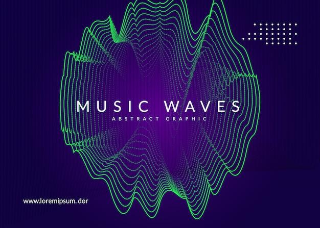 Folheto de som neon. electro dance music. Vetor Premium