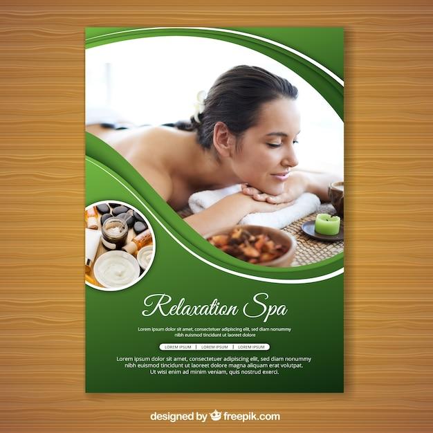 Folheto de spa com uma foto Vetor grátis