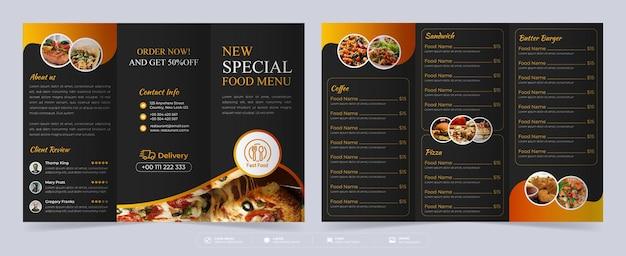 Folheto de três dobras de comida, folheto de três dobras de menu de restaurante, modelo de menu de comida Vetor Premium