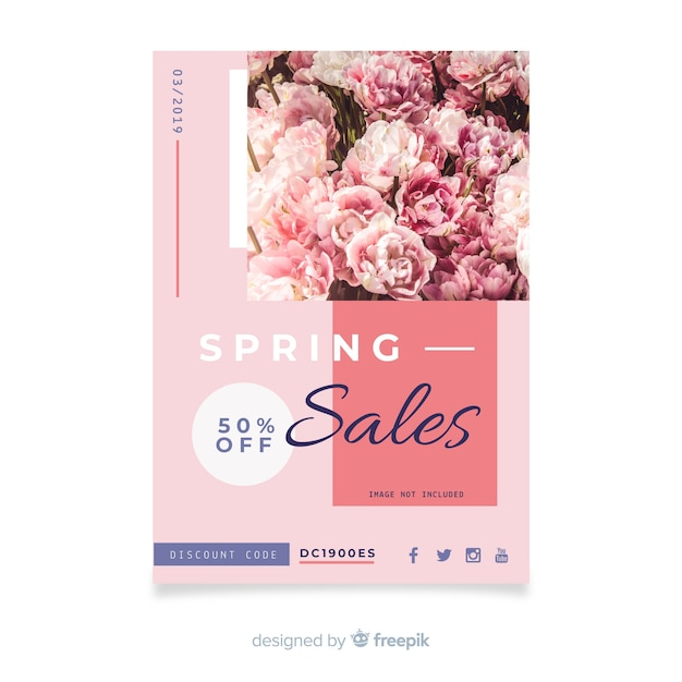 Folheto de venda de primavera Vetor grátis