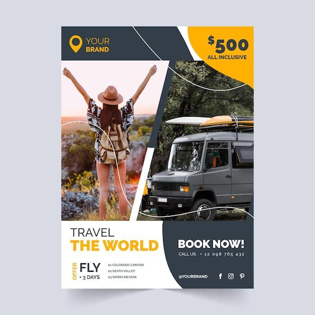 Folheto de venda de viagens para mulher e van Vetor grátis