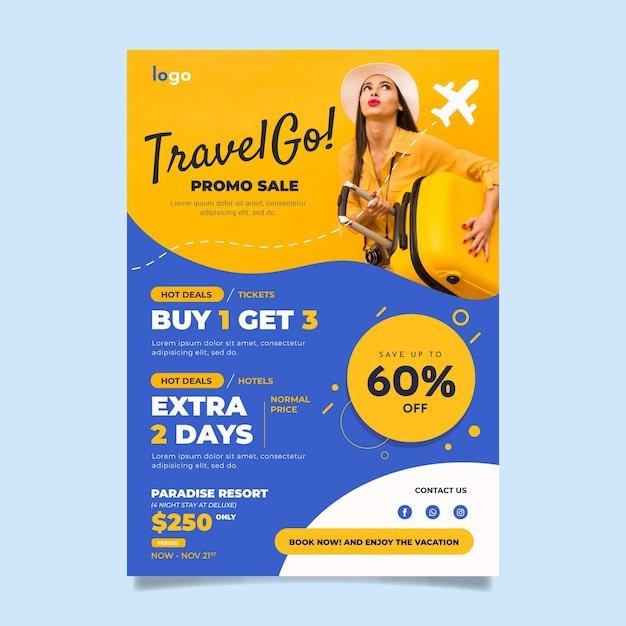 Folheto de venda de viagens Vetor grátis