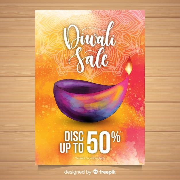 Folheto de venda linda aquarela diwali Vetor grátis