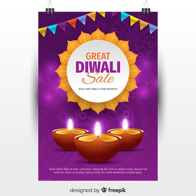 Folheto de venda linda diwali com design realista Vetor grátis