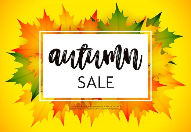 Folheto de venda outono com amarelo Vetor grátis