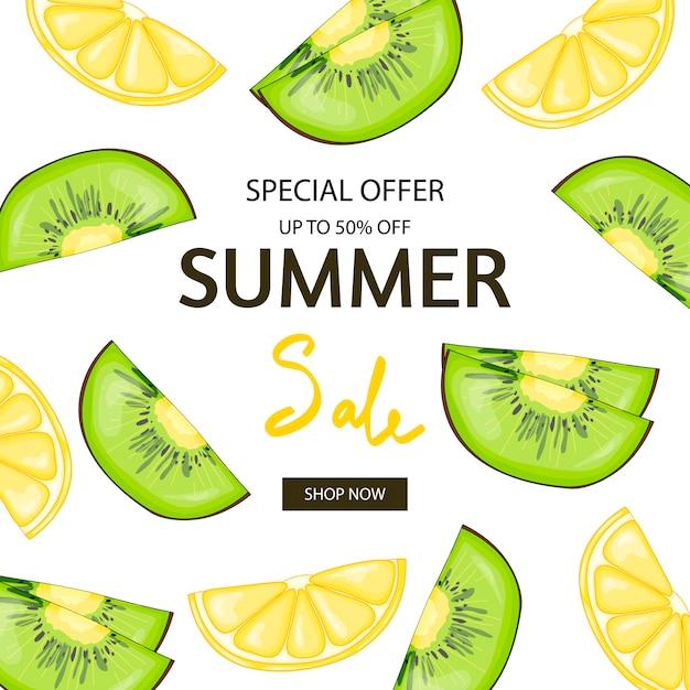 Folheto de verão limão Vetor Premium