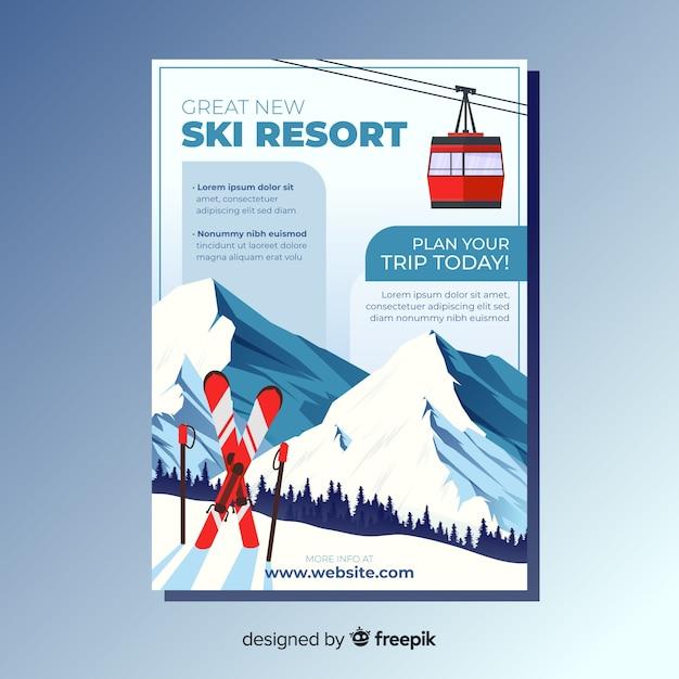 Folheto de viagem de esqui Vetor Premium