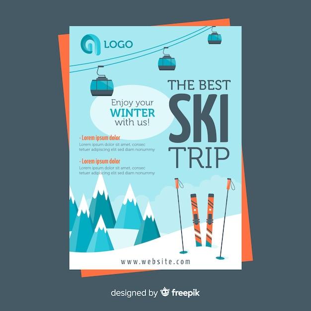 Folheto de viagem de esqui Vetor grátis