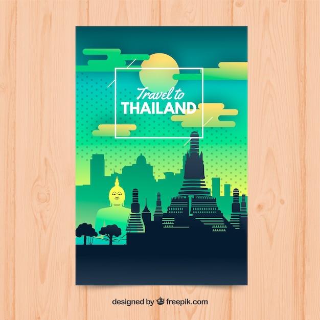 Folheto de viagens tailândia Vetor grátis