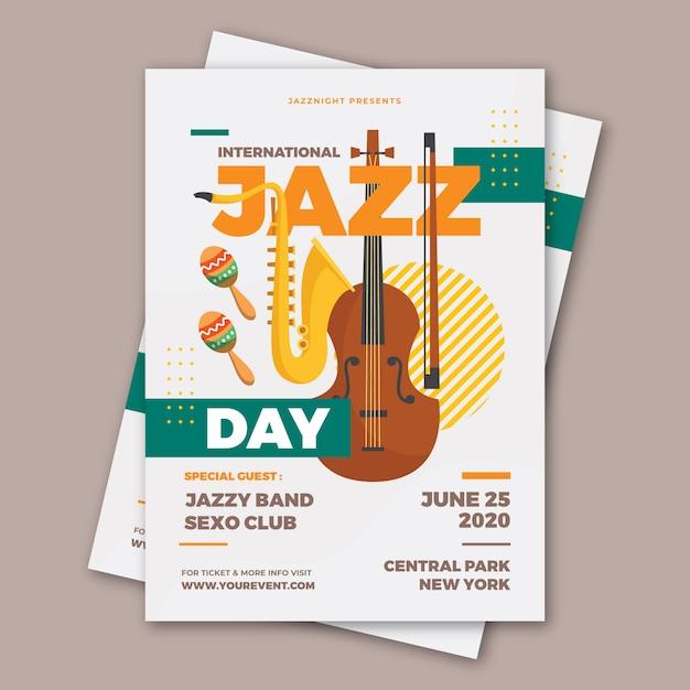 Folheto do dia internacional do jazz plana Vetor grátis