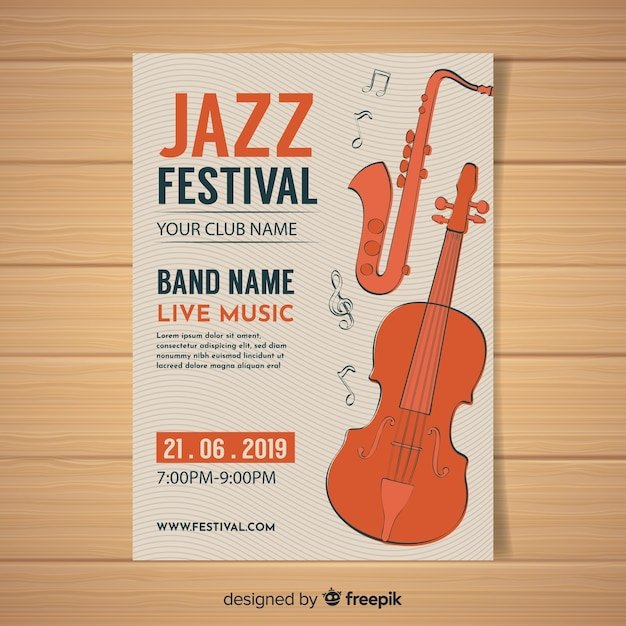 Folheto do festival de música Vetor grátis