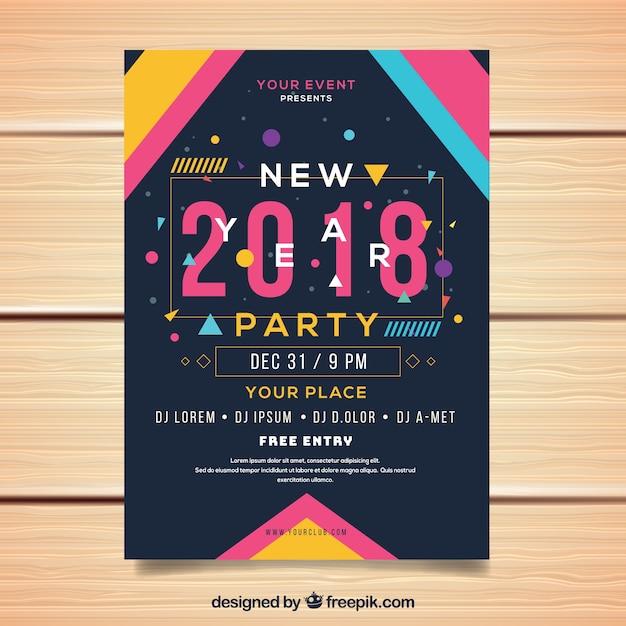 Folheto do partido de ano novo em estilo memphis Vetor grátis