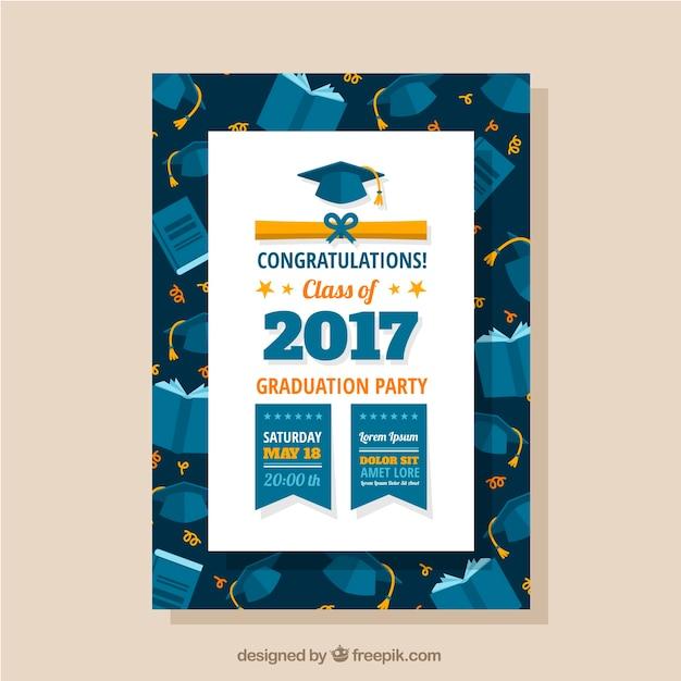 Folheto do partido de graduação com tampões e livros da graduação Vetor grátis