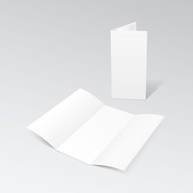 Folheto dobrado em zigue-zague em branco brochura com três dobras de papel branco Vetor Premium