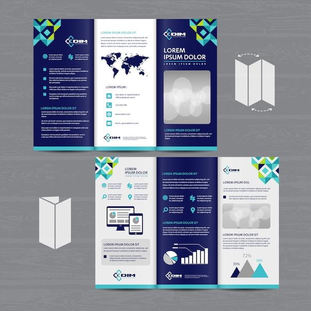 Folheto dobrável em três partes do folheto do negócio Vetor Premium