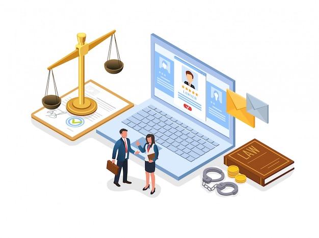 Folheto escolhendo bem sucedido advogado plano isométrico. Vetor Premium