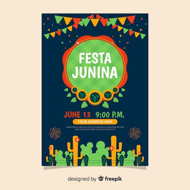 Folheto festa junina Vetor grátis