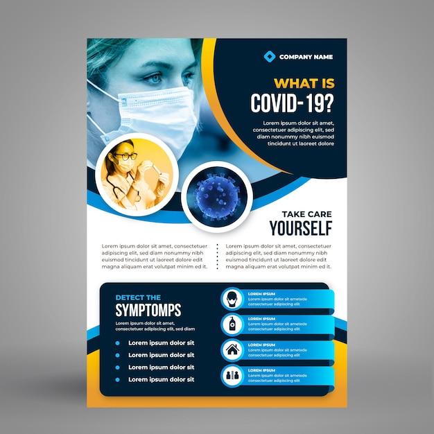 Folheto informativo do coronavírus com foto Vetor grátis