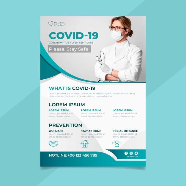 Folheto informativo sobre o coronavírus Vetor Premium