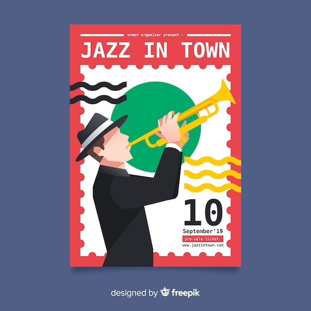 Folheto internacional do dia do jazz Vetor grátis
