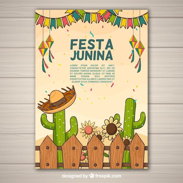 Folheto junina de festa com elementos tradicionais Vetor Premium