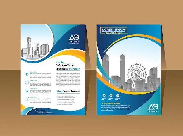 Folheto panfletos modelo de design perfil da empresa poster da revista relatório anual capa do livro & livreto Vetor Premium