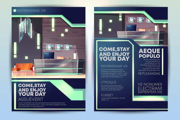 Folheto promocional de hotel de luxo ou folheto modelo de desenho animado com recepção no hotel Vetor grátis