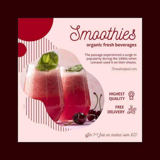 Folheto quadrado com barra de smoothies Vetor Premium