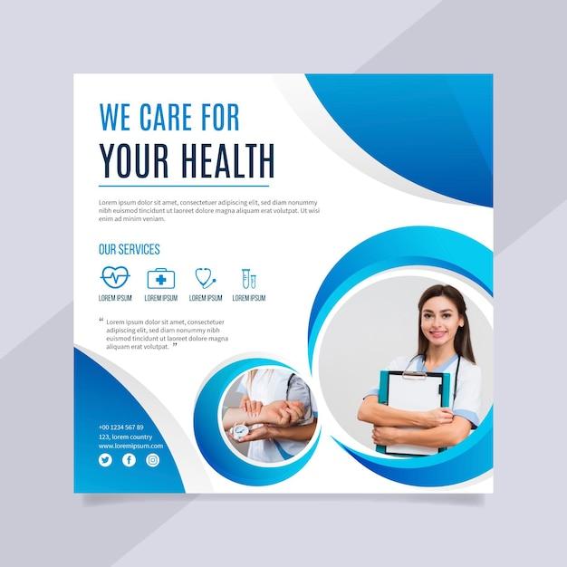 Folheto quadrado de conceito de saúde Vetor Premium