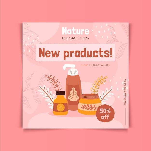 Folheto quadrado de novos produtos da natureza cosméticos Vetor grátis