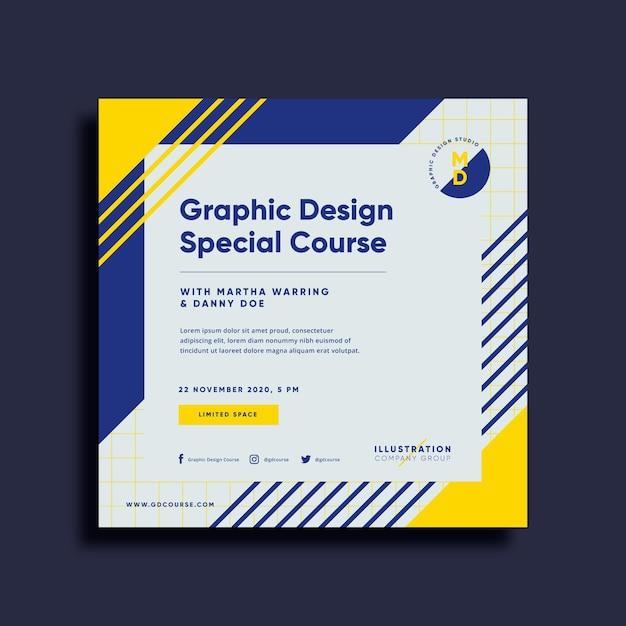 Folheto quadrado do curso de design gráfico Vetor Premium