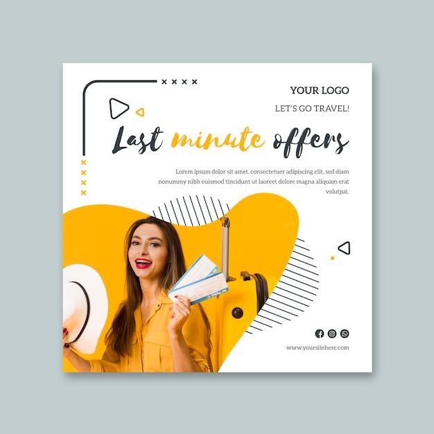 Folheto quadrado para viagens de última hora Vetor Premium