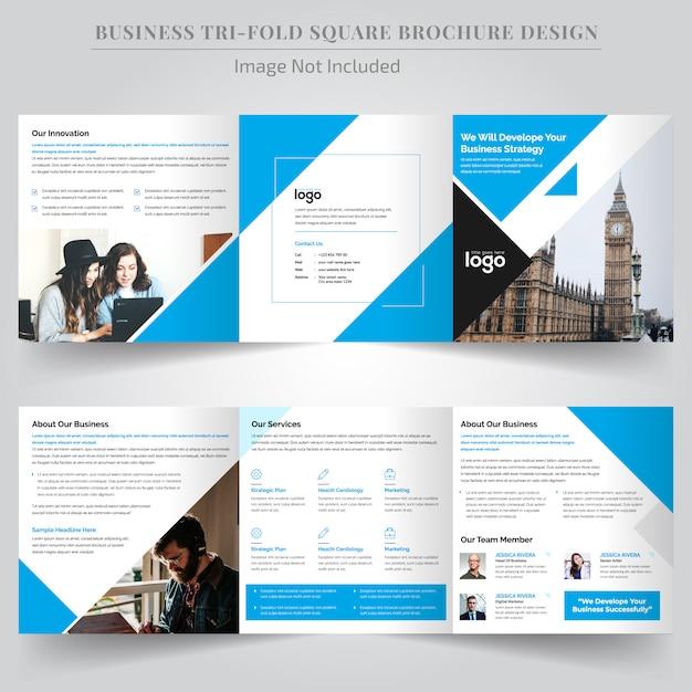 Folheto trifold quadrado azul coporate para negócios Vetor Premium