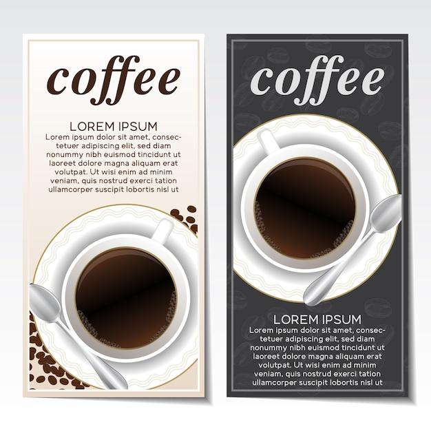 folhetos café ajustados Vetor grátis