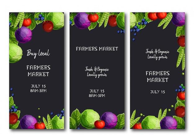 Folhetos de mercado de agricultores, brochura com repolho fresco brilhante, ervilhas, tomate, maçãs e mirtilos. Vetor Premium
