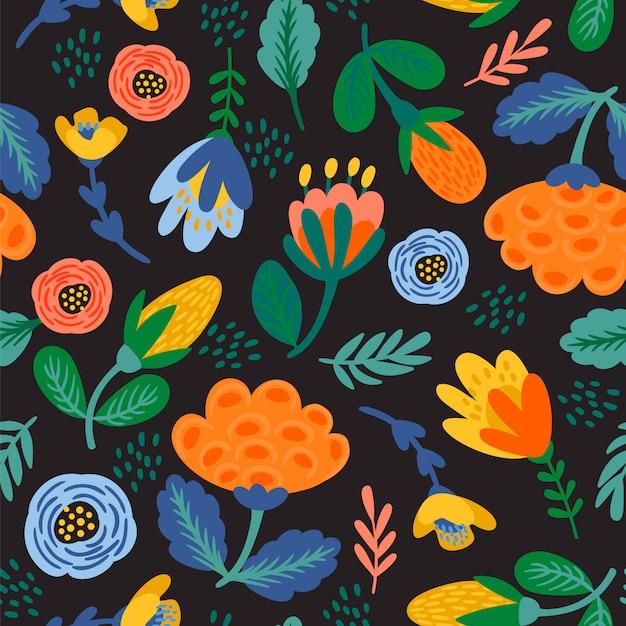 Folk floral padrão sem emenda. desenho abstrato moderno Vetor Premium