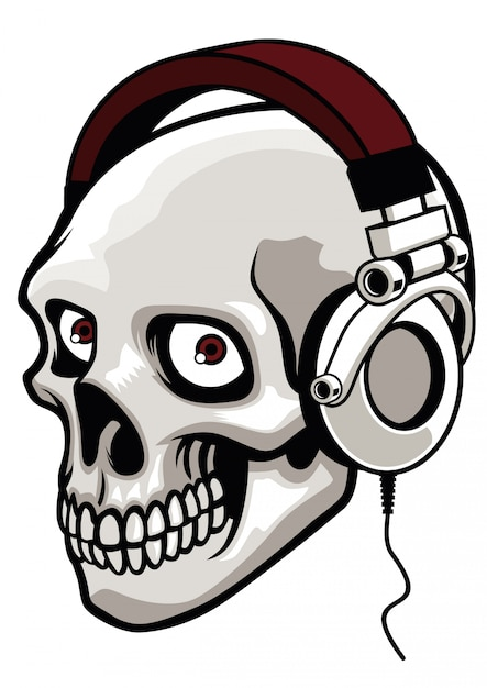 Fone de ouvido de música usando crânio Vetor Premium
