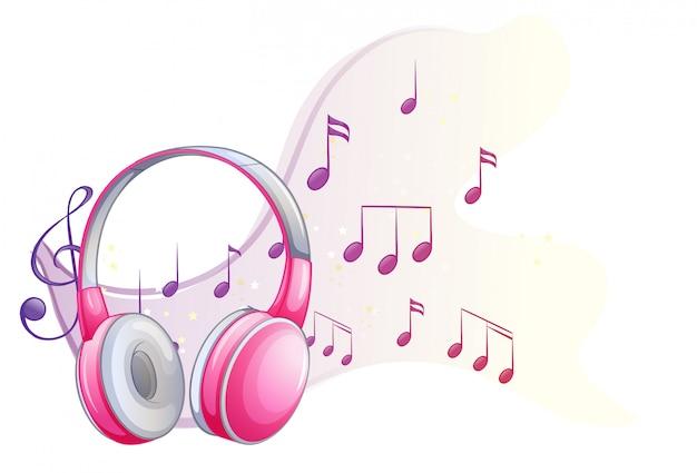 Fone de ouvido-de-rosa com notas musicais no fundo Vetor grátis
