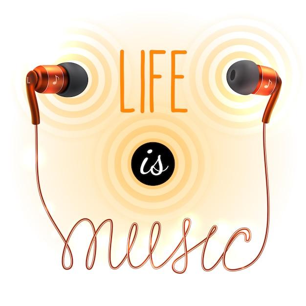 Fones de ouvido com vida é letras de música Vetor Premium