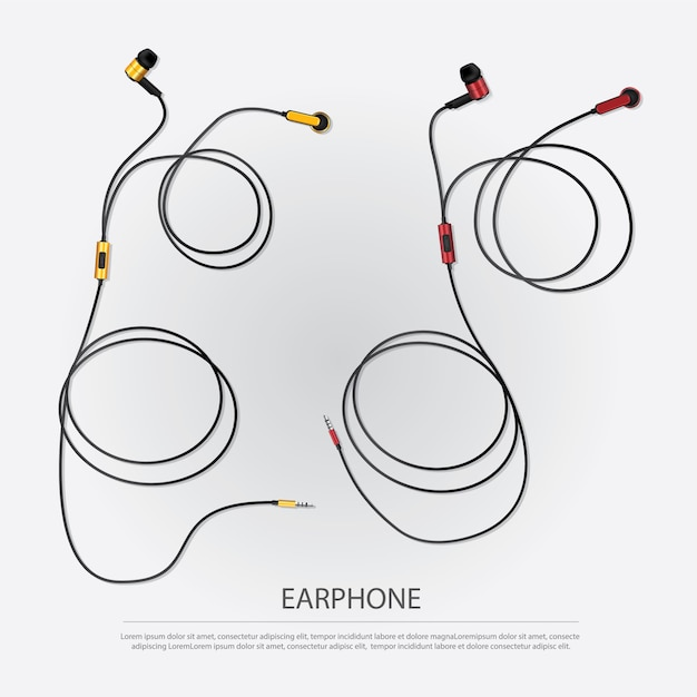 Fones de ouvido de música com ilustração vetorial de telefone Vetor Premium
