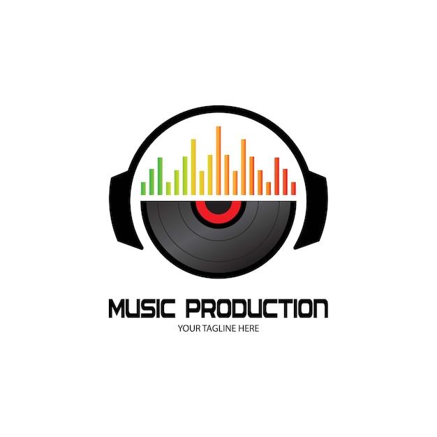 Fones de ouvido para djs, gravação de estúdio de música, logotipo do soundwave Vetor Premium