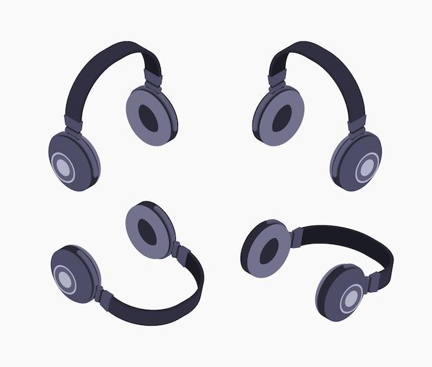 Fones de ouvido pretos isométricos Vetor Premium