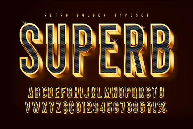 Fonte 3d brilhante dourada, letras e números de ouro Vetor Premium