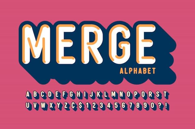 Fonte, alfabeto, letras e números de exibição 3d retrô Vetor Premium