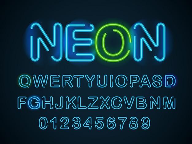 Fonte azul de néon. alfabeto inglês e dígitos definidos. Vetor Premium
