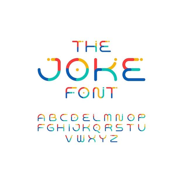 Fonte colorida. alfabeto lúdico. tipo de letra moderno e engraçado do vetor Vetor Premium