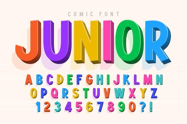 Fonte cômica na moda 3d, alfabeto colorido, tipo de letra Vetor Premium