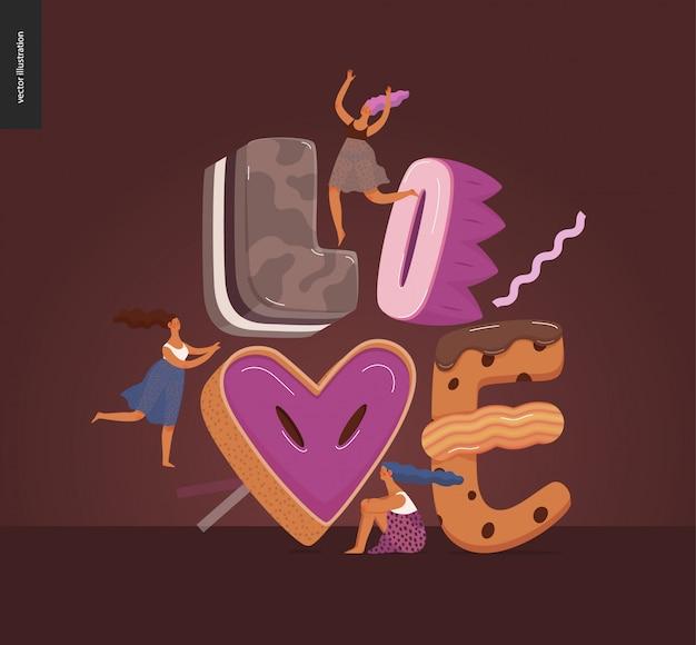 Fonte da sobremesa - ilustração digital do conceito liso moderno do vetor da fonte da tentação, da rotulação doce e das meninas. caramelo, caramelo, biscoito, waffle, biscoito, creme e chocolate letras. lettering love Vetor Premium